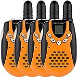 Floureon 22 Channel FRS/GMRS 2 Way Radio 2 Miles (Up to 3 Miles) UHF Handheld Walkie Talkie (Pack of 4, Small Orange Black)