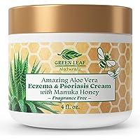 Fragrance-Free Eczema and Psoriasis Cream with Manuka Honey and Amazing Aloe Vera - 4 oz