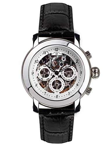 André Belfort 410045 - Reloj analógico de caballero automático con correa de piel negra - sumergible a 50 metros: Amazon.es: Relojes