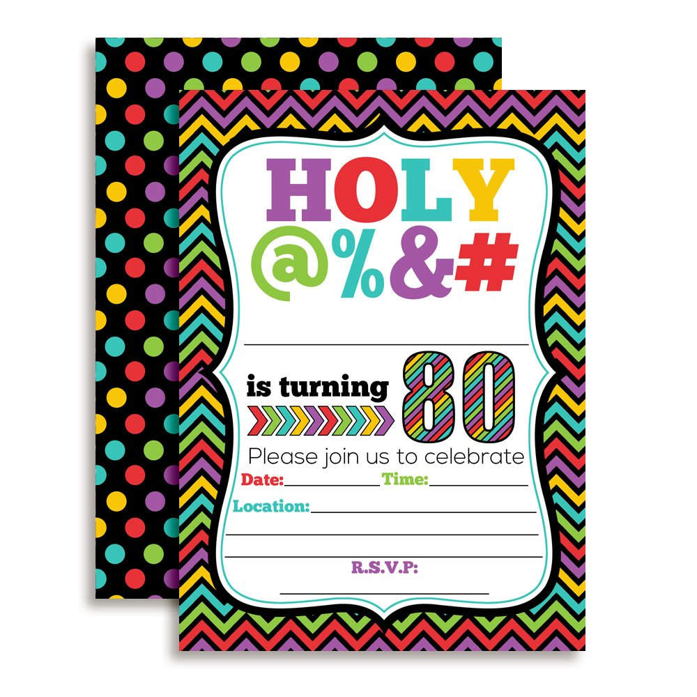HOLY 80th Birthday Party Invitations 20 Funny 5x7 Fill In Cards With Twenty White Envelopes For Milestone Birthdays By AmandaCreation