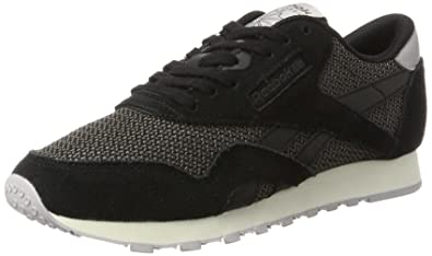 Reebok Damen Classic Nylon Breathability Sneaker, Schwarz (Black/Urban Grey/Whisper Grey/Chalk), 38 EU