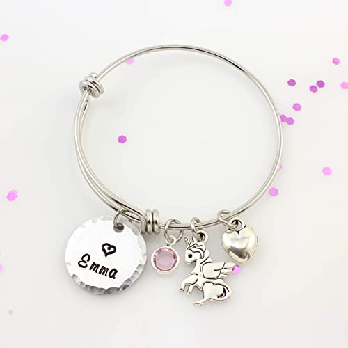 69a28e3c8b2e Personalized Little Girls Unicorn Bracelet - Winged Unicorn Bangle Bracelet  with Name   Birthstone - Silver Expandable Charm Bangle - Girls Birthday  Gift ...