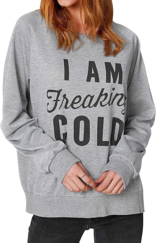CUPSHE Women's I Am Freaking Cold Print Long Sleeve Sweatshirt Pullover T Shirt