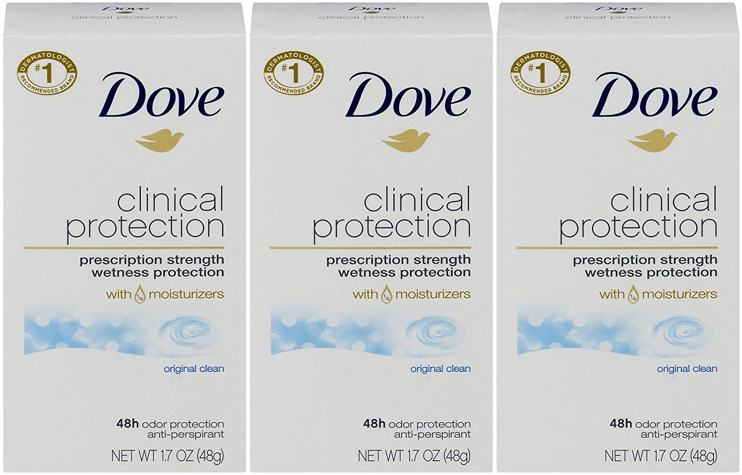 Dove Clinical Protection Antiperspirant Deodorant, Original Clean, 1.7 Oz, Pack of 3