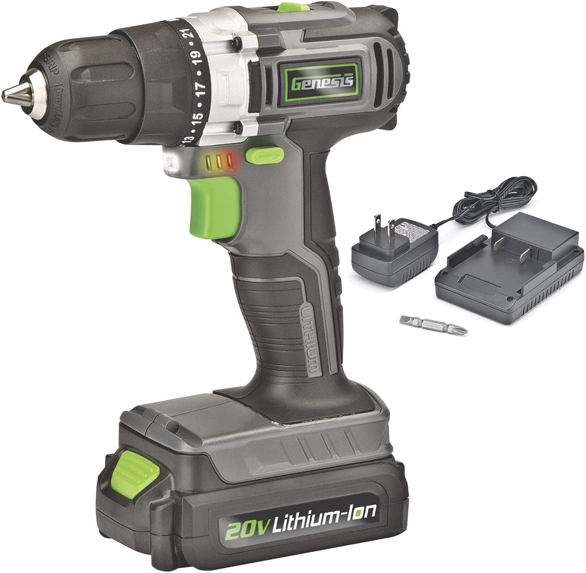 Genesis GLCD2038A 20V Lithium-ion Cordless Drill Driver, Grey Black Green, 3 8