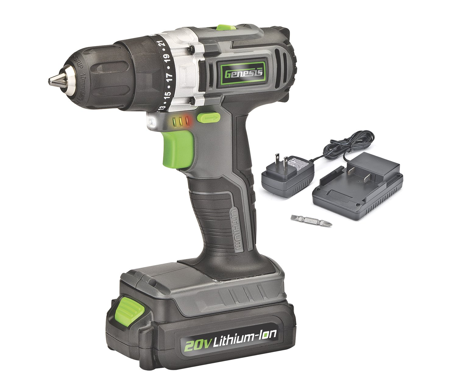 Genesis GLCD2038A 20V Lithium-ion Cordless Drill Driver, Grey/Black/Green, 3/8''