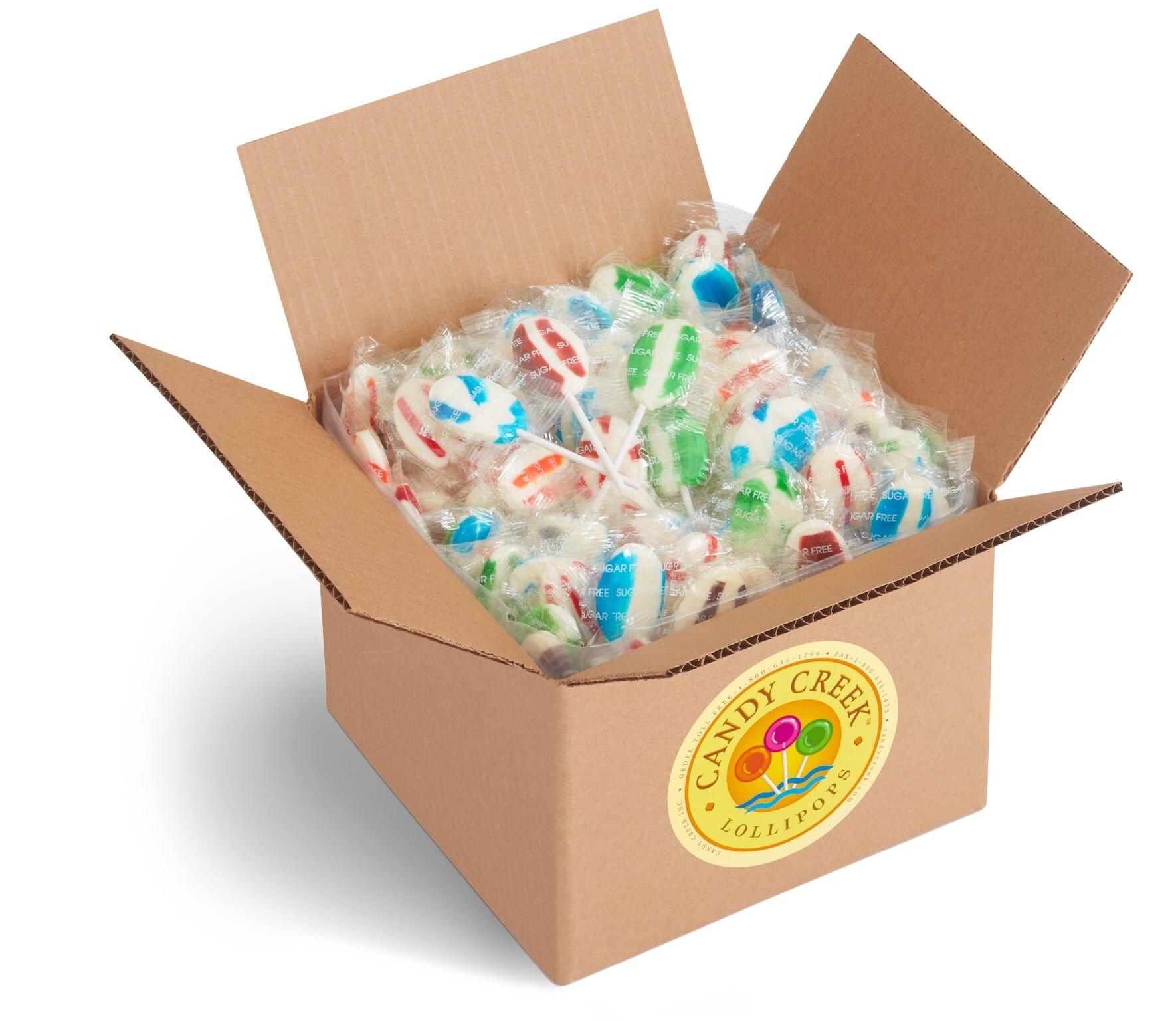 Oval Sugar Free Fruit Zany Lollipops by Candy Creek, Bulk 4 lb. Carton, Assorted Flavors by Candy Creek Lollipops