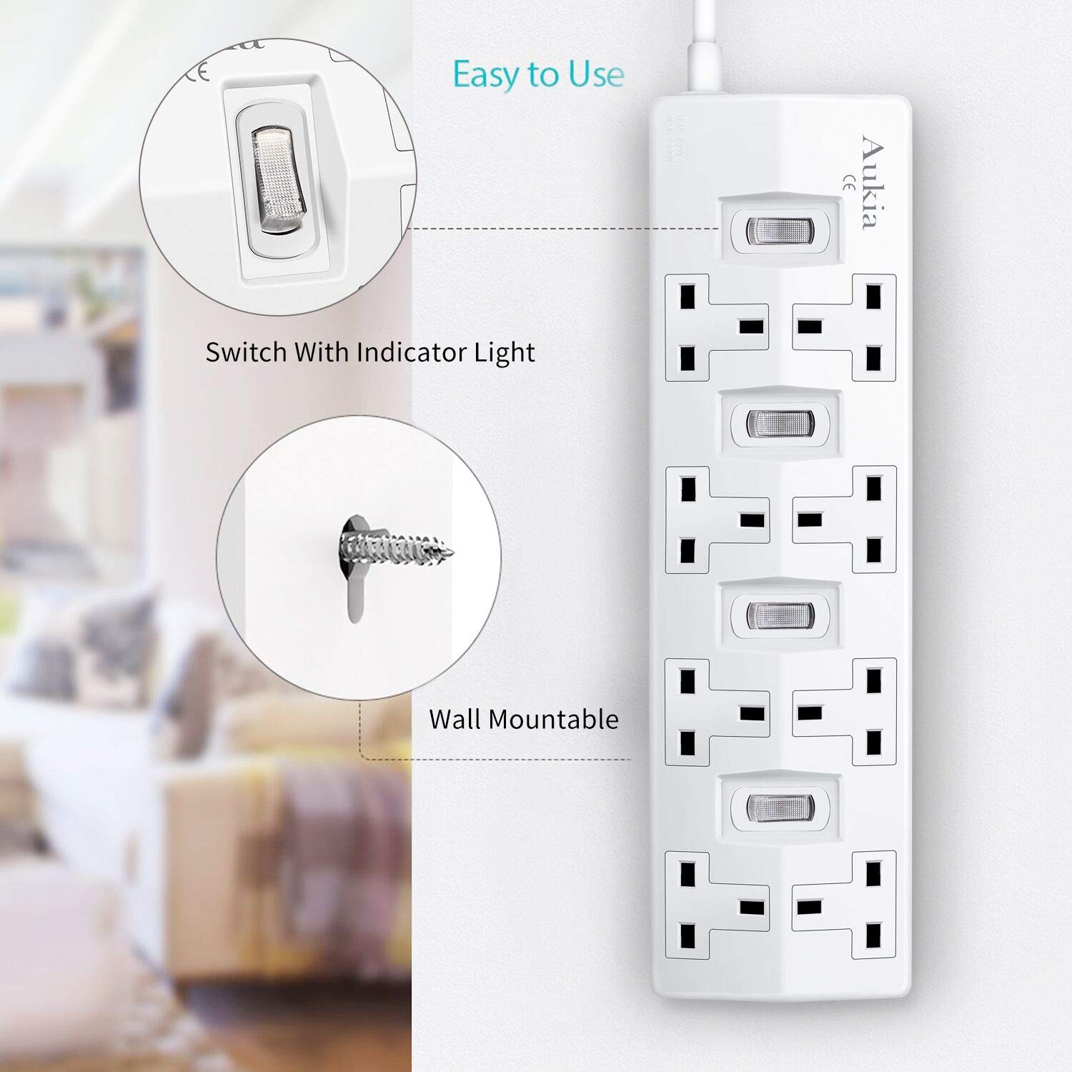 Aukia 2M 10 Way Tower Extension Lead with 4 USB Surge Protected Switched Power Extension Milti Plug White Extension Cord