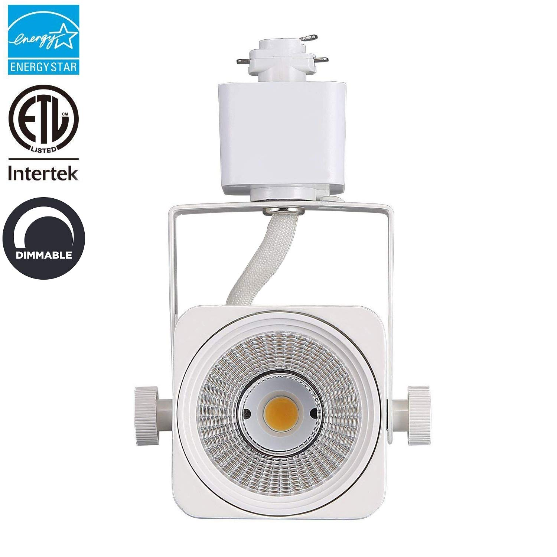 LED Track Lighting Head 3000K Warm White Dimmable, CRI90+ 8W 600LM Adjustable Tilt Angle 40°, (Energy Star & ETL) White Square Accent Light Fixtures for Art Exhibition Home Decor Retail
