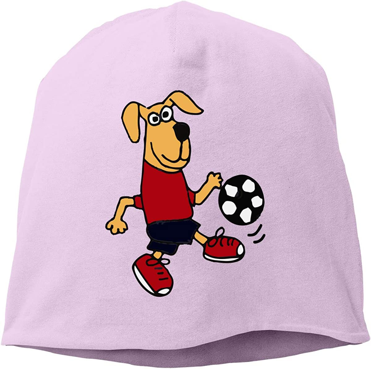 TLPM9LKMBM Cute Dog Playing Soccer Beanie Skull Cap for Women and Men Winter Warm Knit Hat