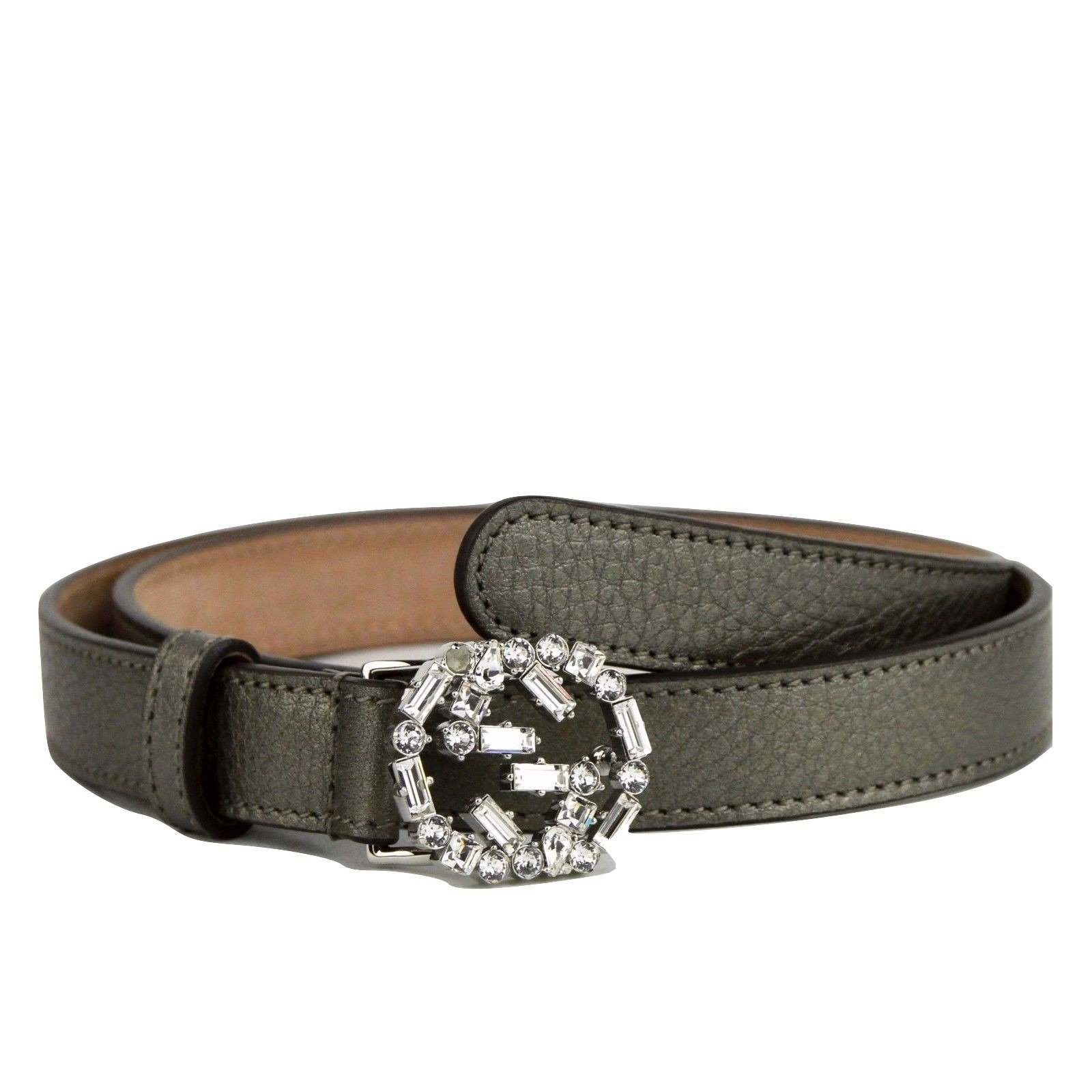 Gucci Women's Interlocking Crystal G Leather Skinny Belt 354380 (85 / 34, Metallic Gray)