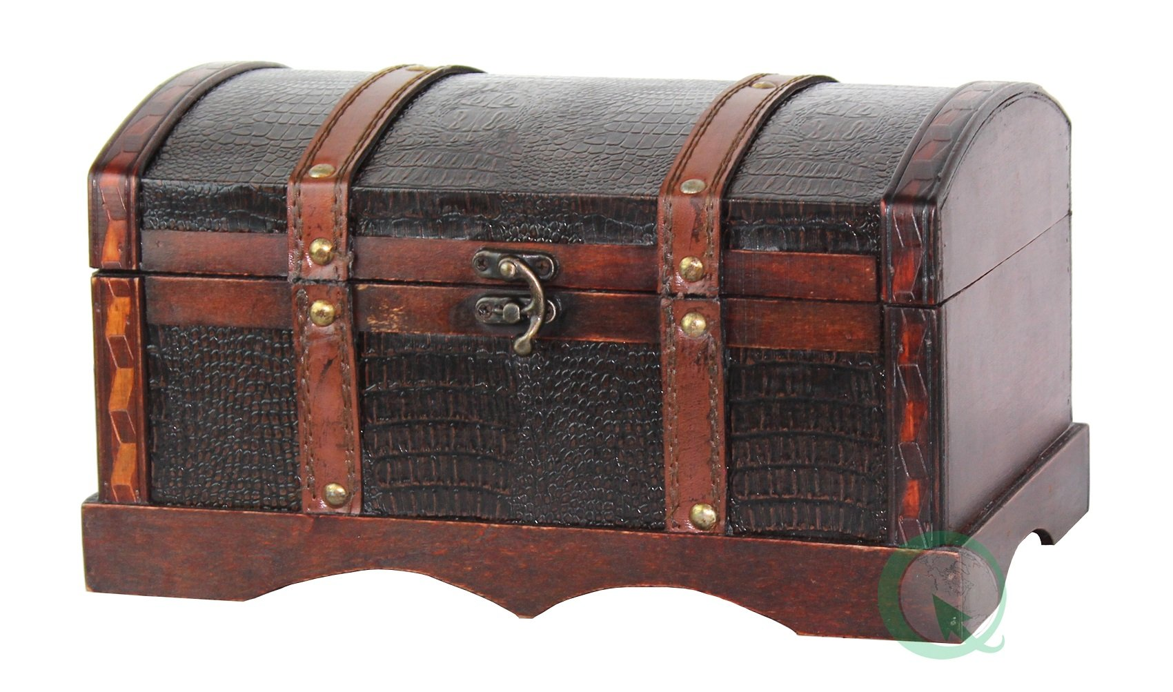 Vintiquewise(TM) Leather Wooden Chest/Trunk by Vintiquewise