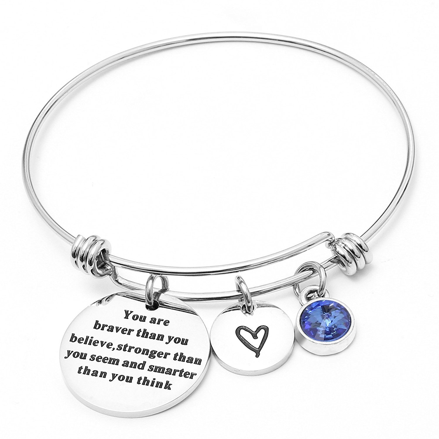 Angel's Draw Home You Are Braver than You Believe Adjustable Bangle Bracelets With 12 Months Color Birthstone for Women Girls Gift (Sapphire- September)