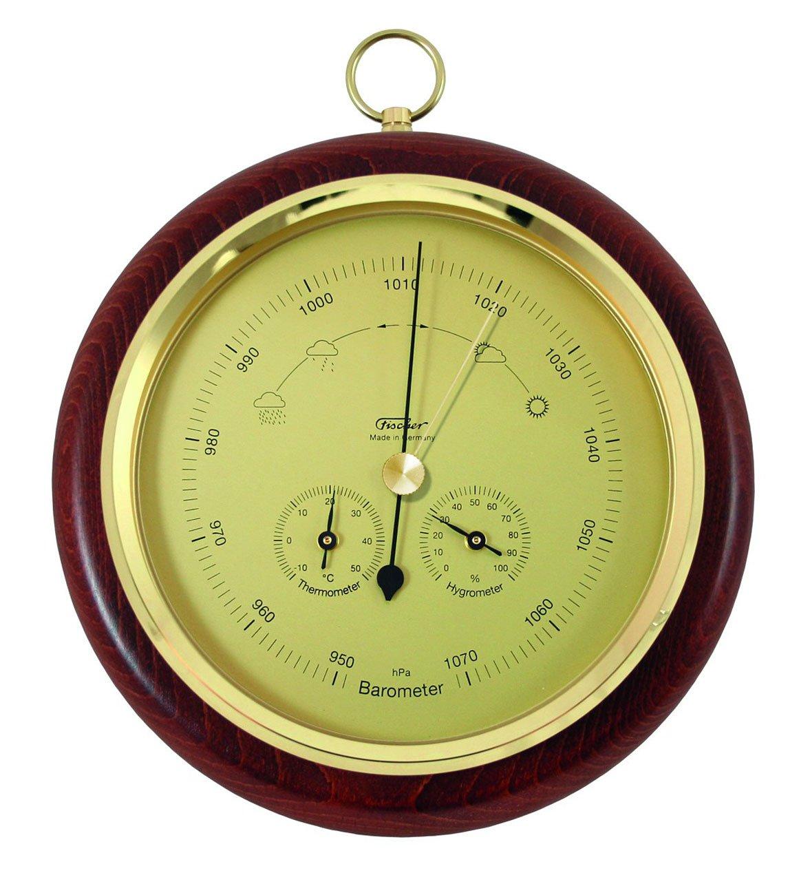 Fischer Wetterstation, Barometer, Thermo-Hygrometer, Durchmesser 200mm, Ausführung Echtholzsockel mahagoni
