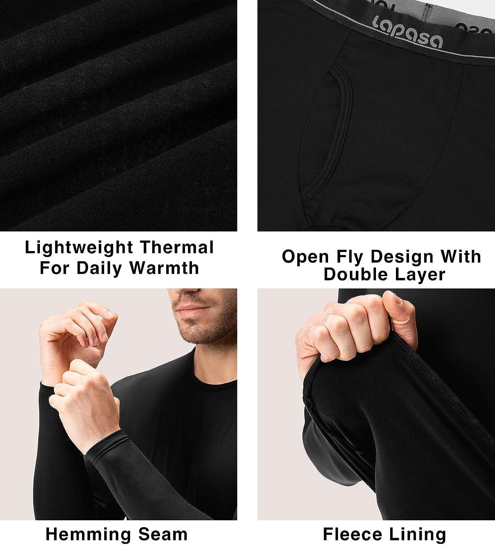 Large, Black LAPASA Mens Lightweight Thermal Underwear Long John Set Fleece Lined Base Layer Top and Bottom