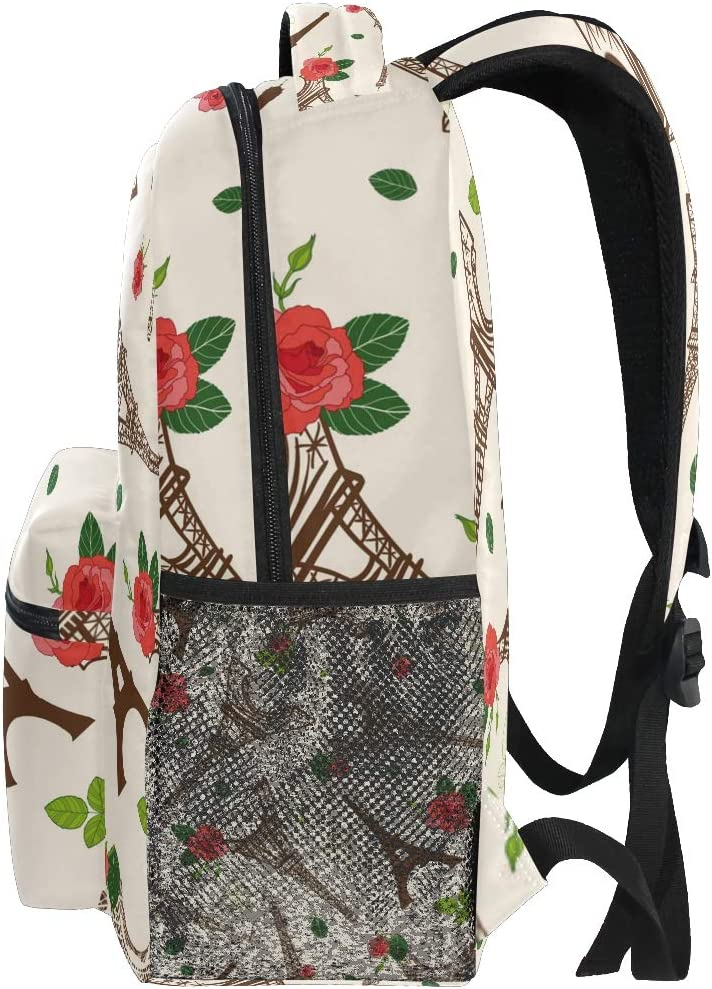 Backpack Fashion Laptop Daypack Paris Eiffel Tower Flower Travel Backpack for Women Men Girl Boy Schoolbag College School Bag Canvas