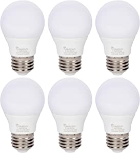 Simba Lighting LED A15 Refrigerator Light Bulbs (6-Pack) 4W 40W Replacement Small for Appliances, Freezers, Ceiling Fans, 120V, E26 Standard Medium Base, Frosted Cover, Not Dimmable, 5000K Daylight