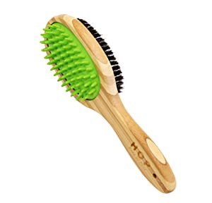 Dog Bathing Brush, Dog Shampoo Brush for Massage Dog Scrubber Cat Brushes for Grooming with Pin & Bristle, Natural Bamboo
