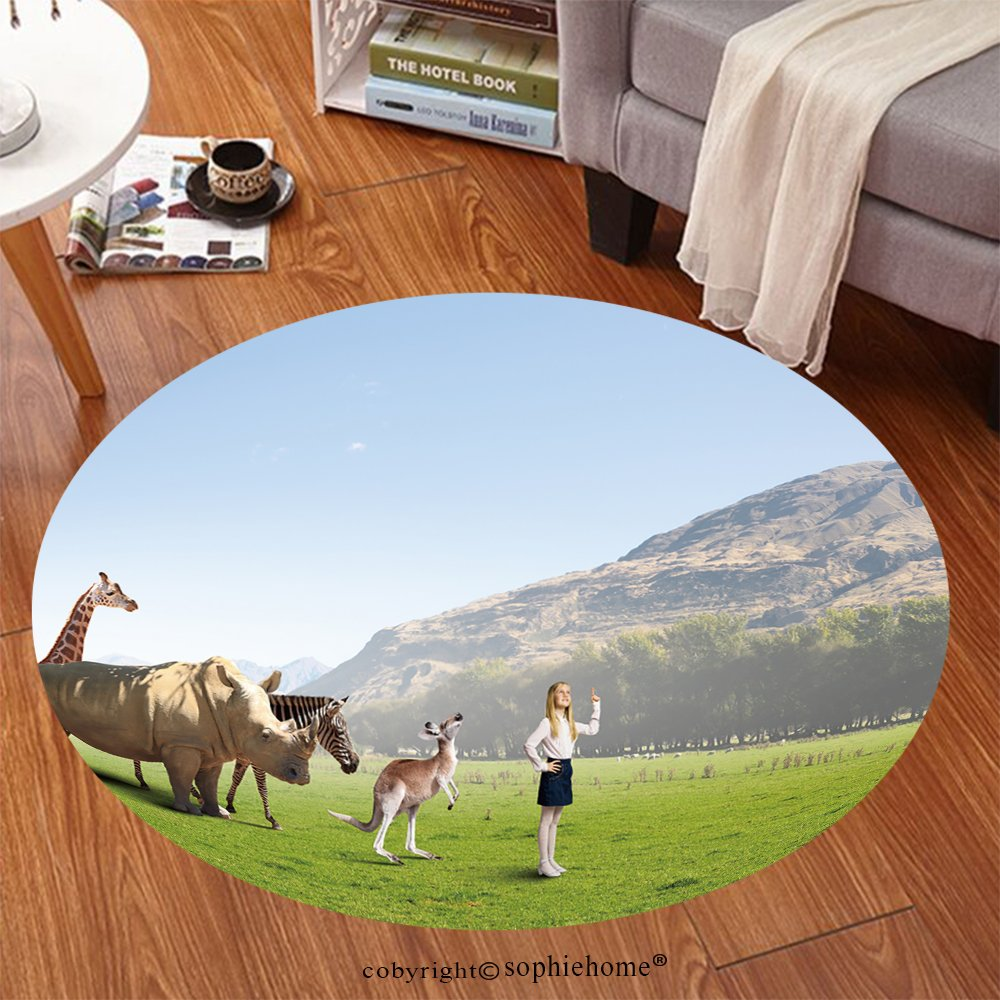 Sophiehome Soft Carpet 259700954 Cute school girl outdoor with wild animals Anti-skid Carpet Round 24 inches