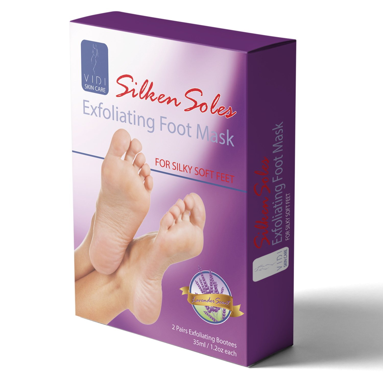 Foot Peel, Foot Mask Exfoliant, (2 Pack) Lavender Foot Exfoliator, Foot Skin Remover for Baby Soft Feet, Silken Soles by VIDI