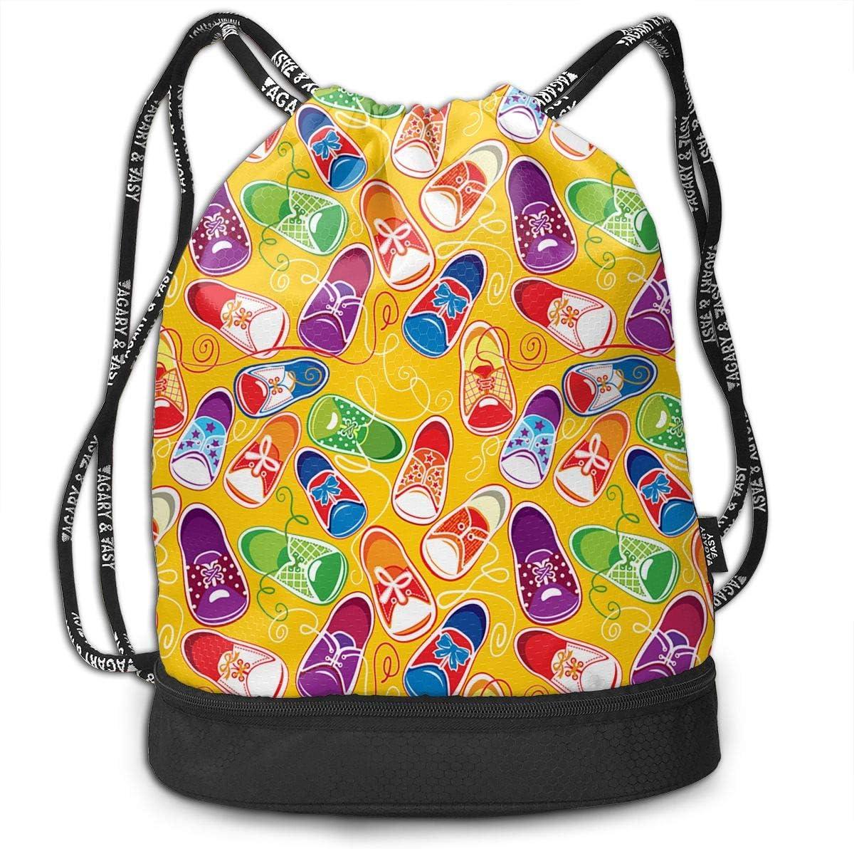 Drawstring Backpack Colored Children Gumshoes Gym Bag