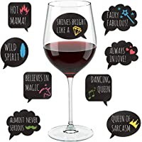 Funny Wine Glass Drink Markers - 18 Static Clings Reusable Glass Stickers - For Wine Tasting Party, Wine Gift and Favors