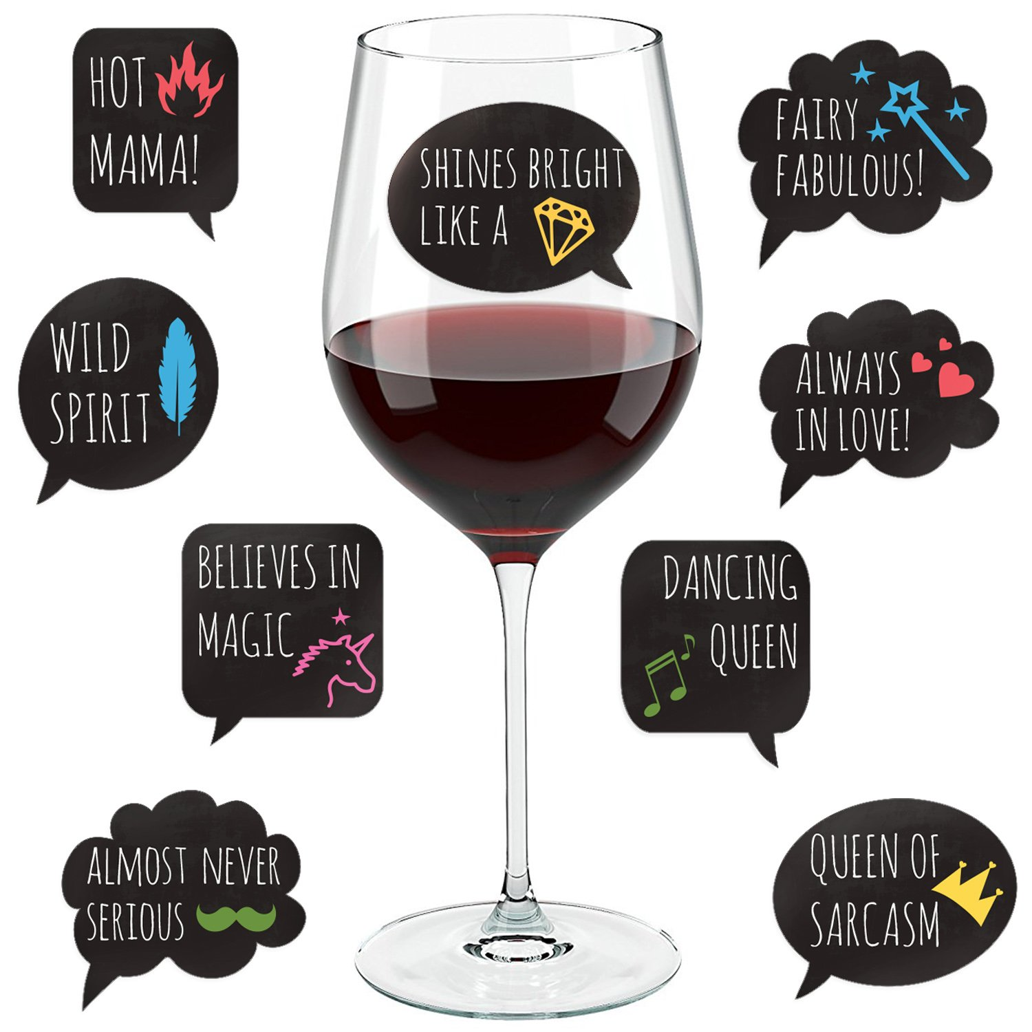 Funny Wine Glass Drink Markers - 18 Static Clings Reusable Stickers - For Wine Tasting Party, Wine Gift and Favors by Lulu & You