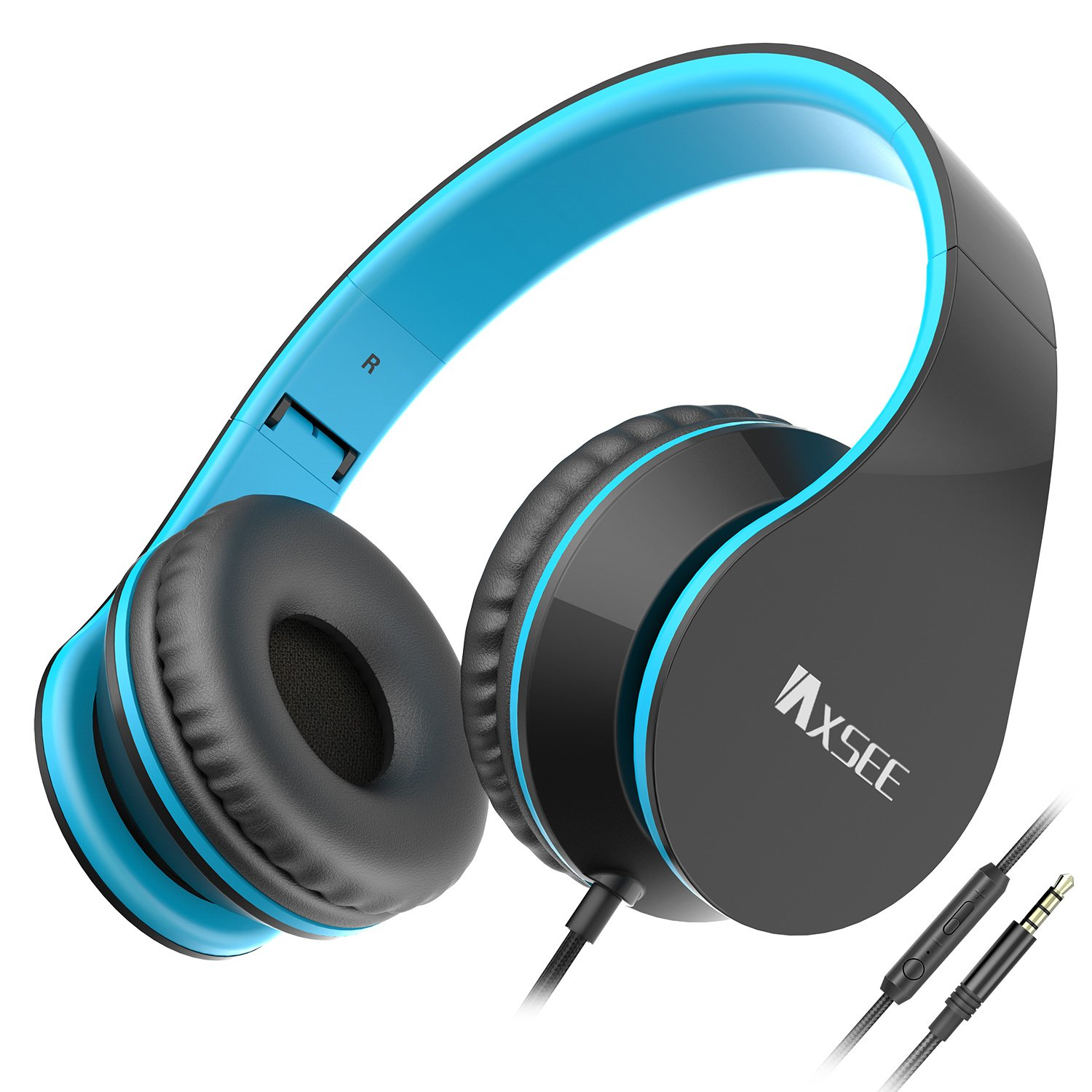 IAXSEE I70 Wired On-ear Headphones with Microphone and Volume Control Stereo Lightweight Adjustable Headsets for iPad iPod Android Smartphones Laptop Mp3(Black Blue) by IAXSEE