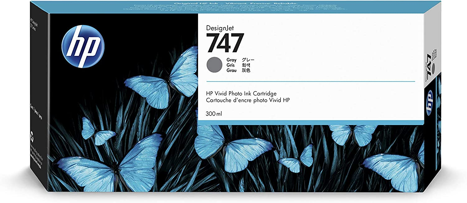 HP 747 Gray 300-ml Genuine Ink Cartridge (P2V86A) for DesignJet Z9+ Large Format Printers