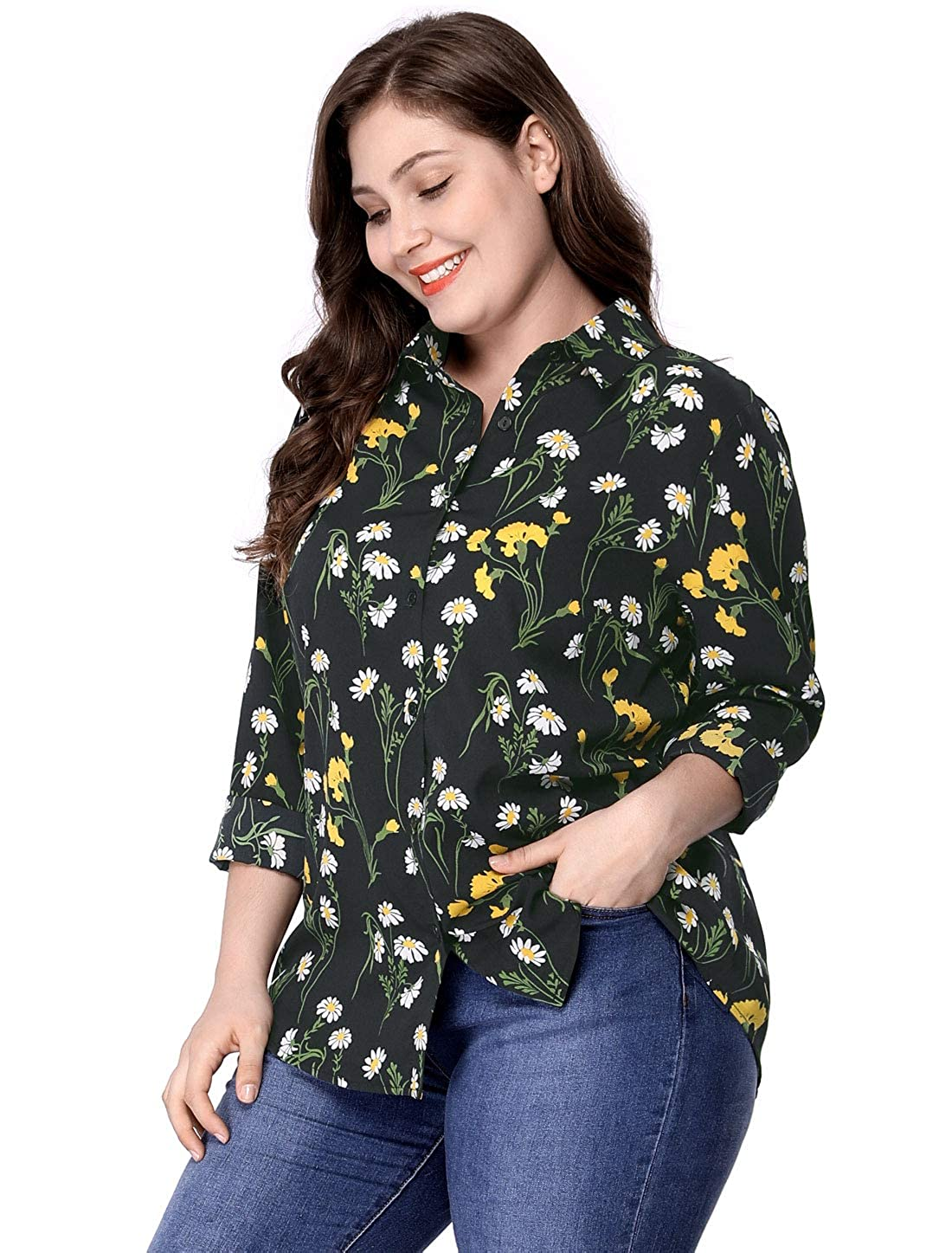 Agnes Orinda Women's Plus Size Long Sleeve Floral Print Button Down Shirt