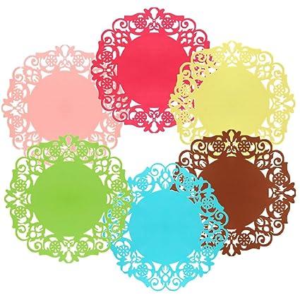 6 piezas de posavasos de silicona de encaje con diseño de flores, antideslizante, para
