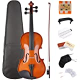 ADM 3 4 Size Violin Solidwood Ebony Pegs Violin Beginner Student Advanced Kit with Violin Hard Case, Ebony Frog Violin Bow and Rosin, etc