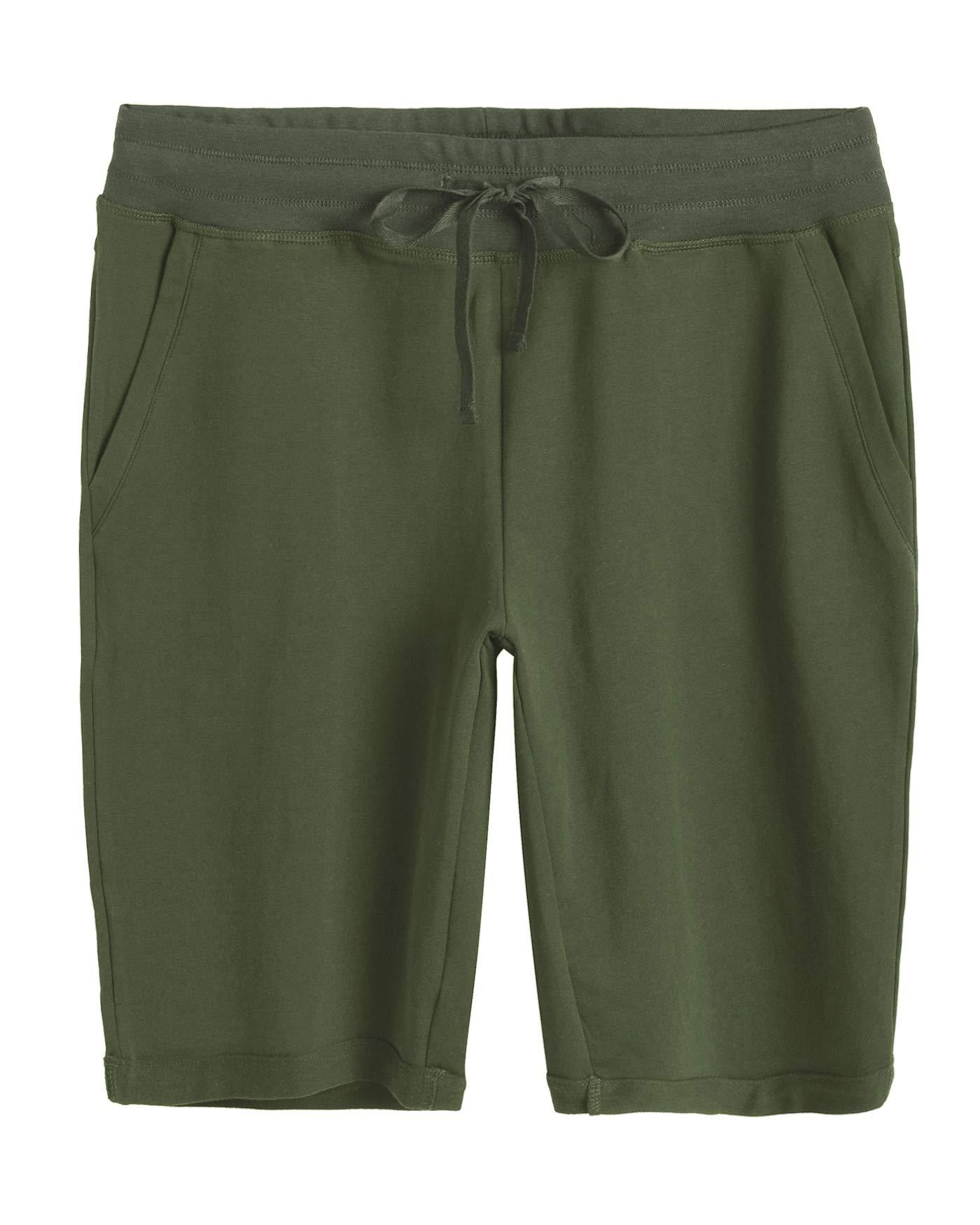 Weintee Women's Cotton Bermuda Shorts with Pockets XL Army Green by Weintee