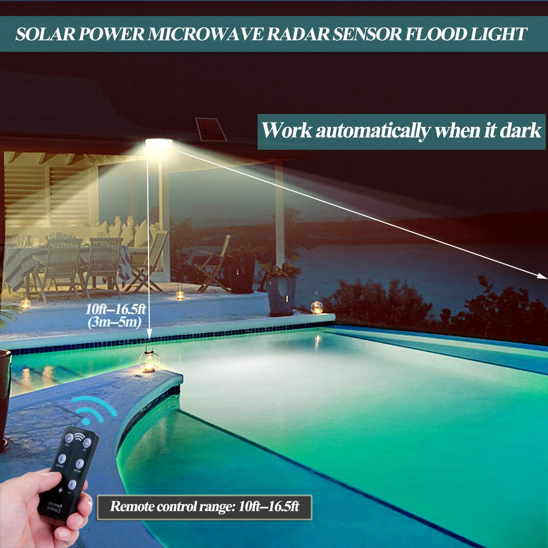 Luces solares para exteriores, ALFLASH 1500 Lumen 65 LED Sensor de movimiento solar Luces de seguridad 6600 mAh Luces de pared para exteriores con luz solar ...