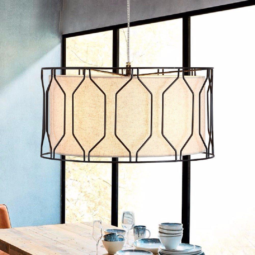 HQLCX Chandelier Nordic Simple Living Room Bedroom Study Room Iron Art Fabric Chandelier,B