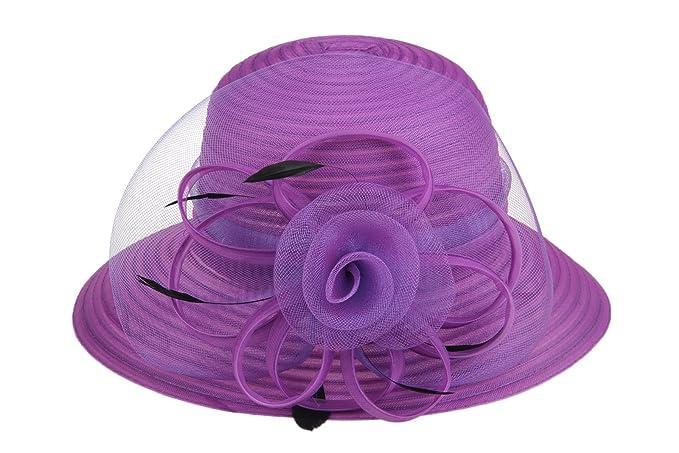 Dantiya Lady Derby Dress Church Bow Bucket Wedding Bowler Hats Wide Brim  Sun Hat (Dark 73fafd556620