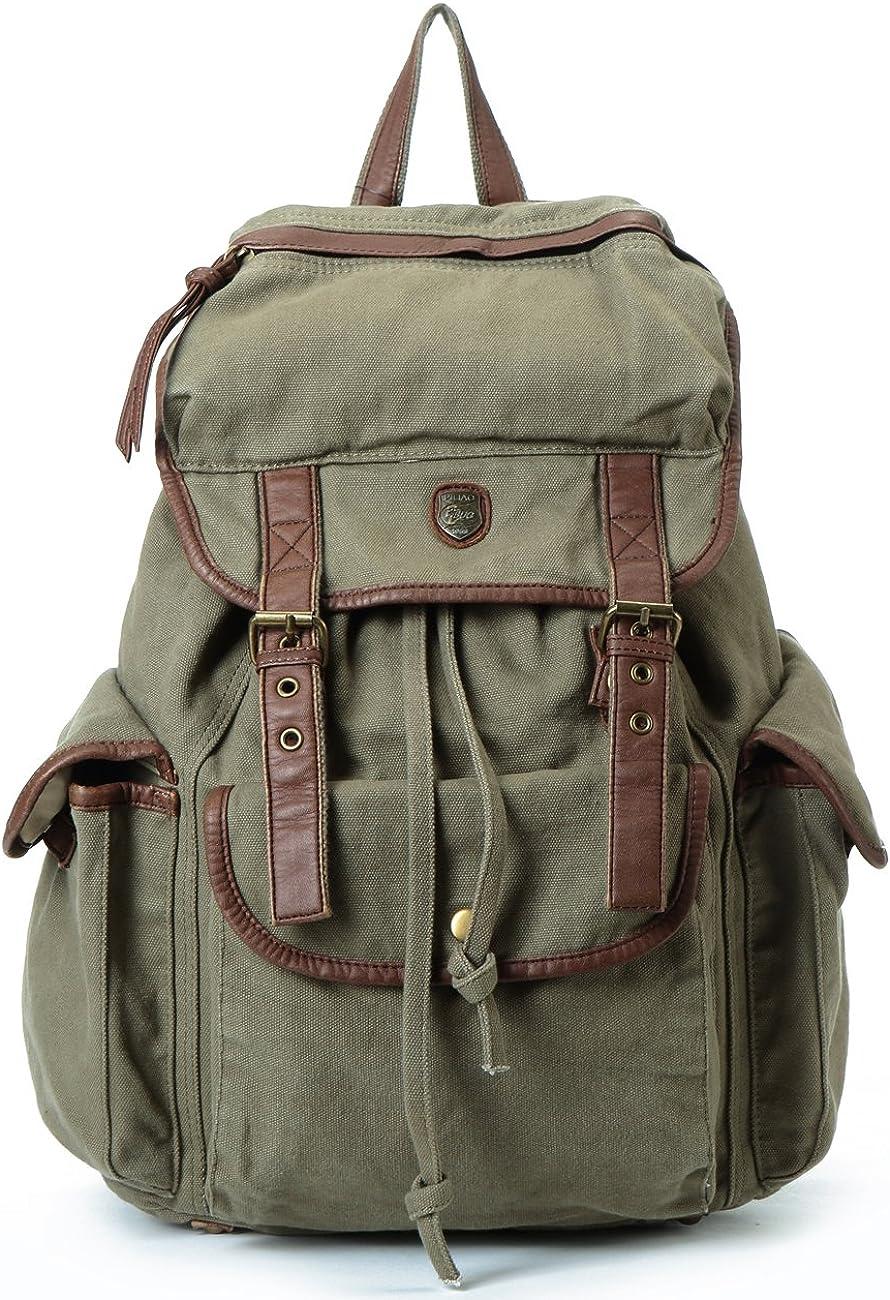 Backpack Women Men BUG Vintage Fabric Cotton Leather Canvas Rucksack Casual Multi-function Laptop Bookbag