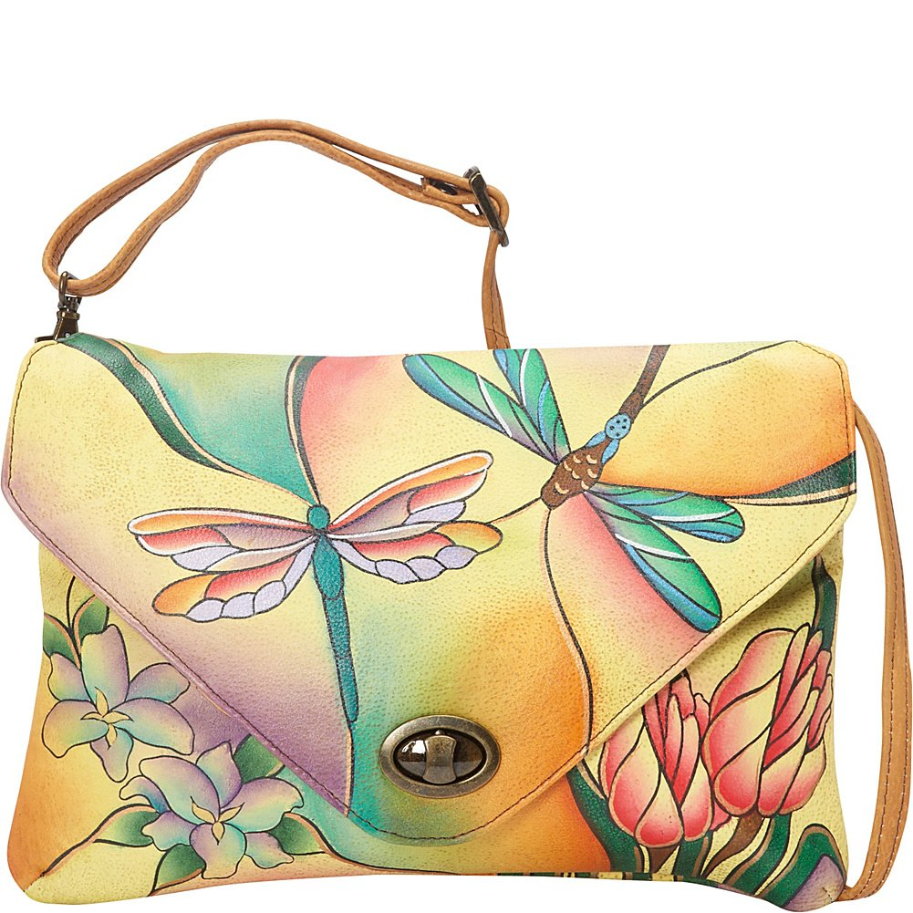 Anuschka Anna Handpainted Leather Envelope Clutch, Dragonfly Glass Painting