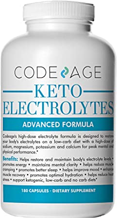 Keto Electrolyte Capsules – 180 Count – Electrolyte Supplement for a Low Carb Diet or Ketogenic Diet, Rehydration, Recovery, Fatigue, Sodium, Calcium, Potassium, Magnesium