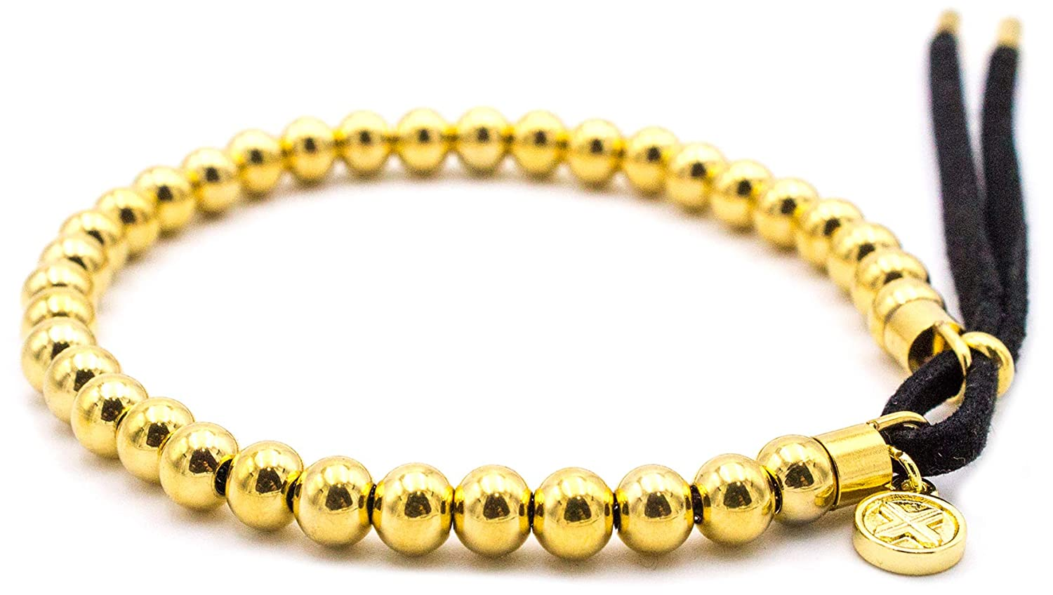 Electric Family X Beaded Bracelet - Gold - High Grade Stainless Steel - Beaded Chain - Adjustable Leather Strap - Everyday Wear - X Charm Attached EFB-METAL-BEADED-GLD