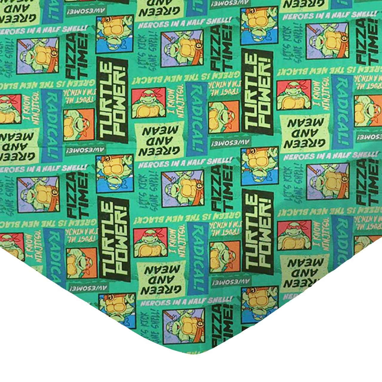 SheetWorld 100% Cotton Percale Fitted Crib Toddler Sheet 28 x 52, Ninja Turtles Pizza Time, Made in USA