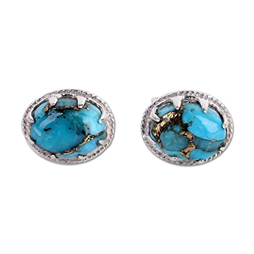 NOVICA Oval Blue Reconstituted Turquoise .925 Sterling Silver Stud Button Earrings, Morning in Blue