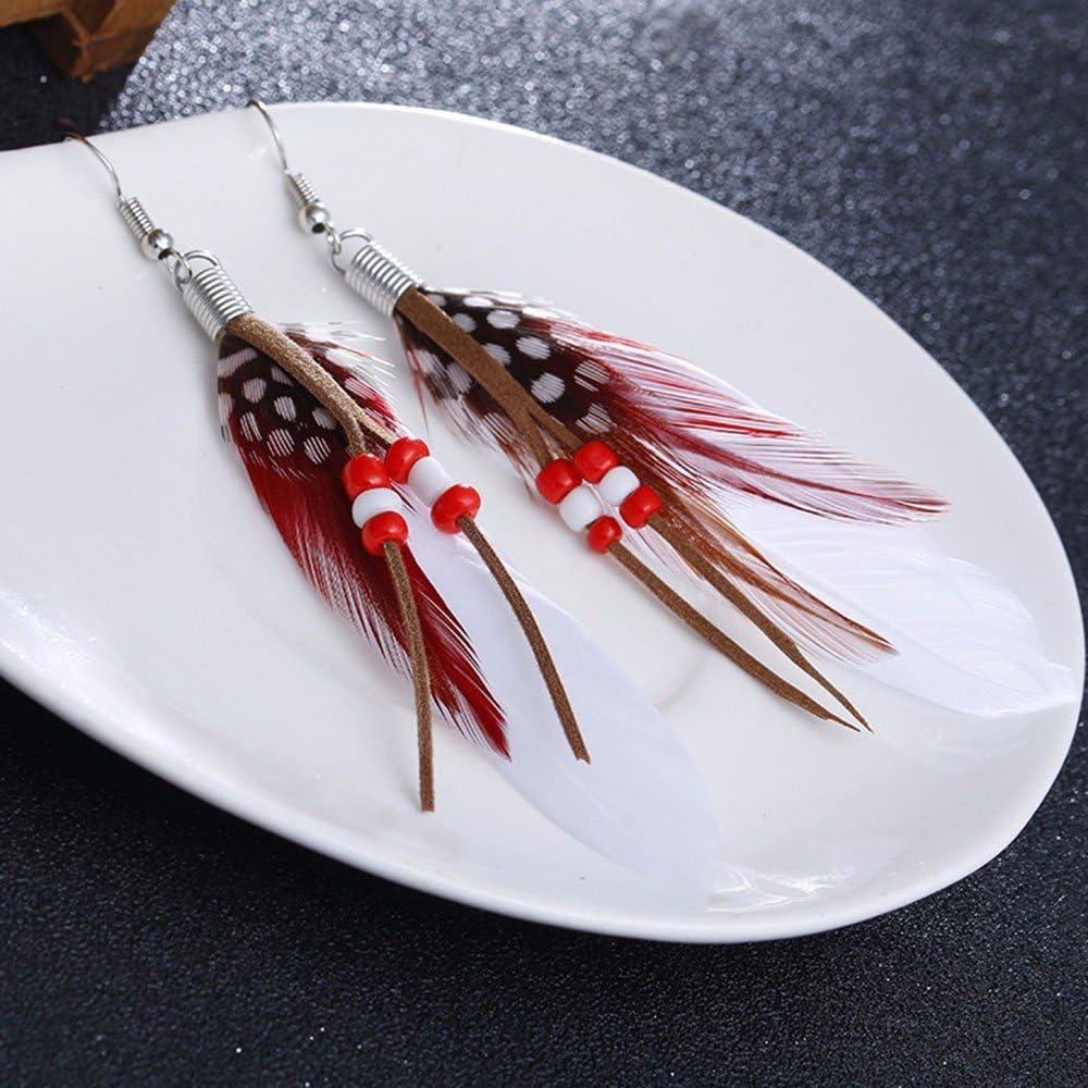 Wuayi Boucles doreilles en forme de plumes de boh/ème attrape-r/êve pour femme