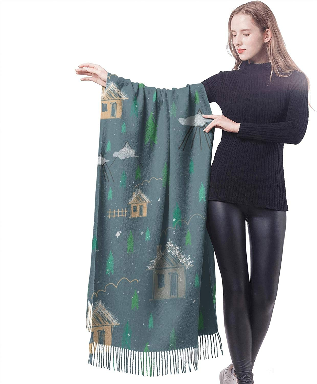 Women Warm Soft Winter Smooth Scarf Funny Print Wraps Oversized Shawl