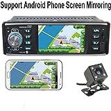 PolarLander Autoradio 4 Zoll HD Stereo Bluetooth MP5 Player Bildschirm Spiegelung für Android Phone 1 Din USB / SD / FM mit Rückfahrkamera