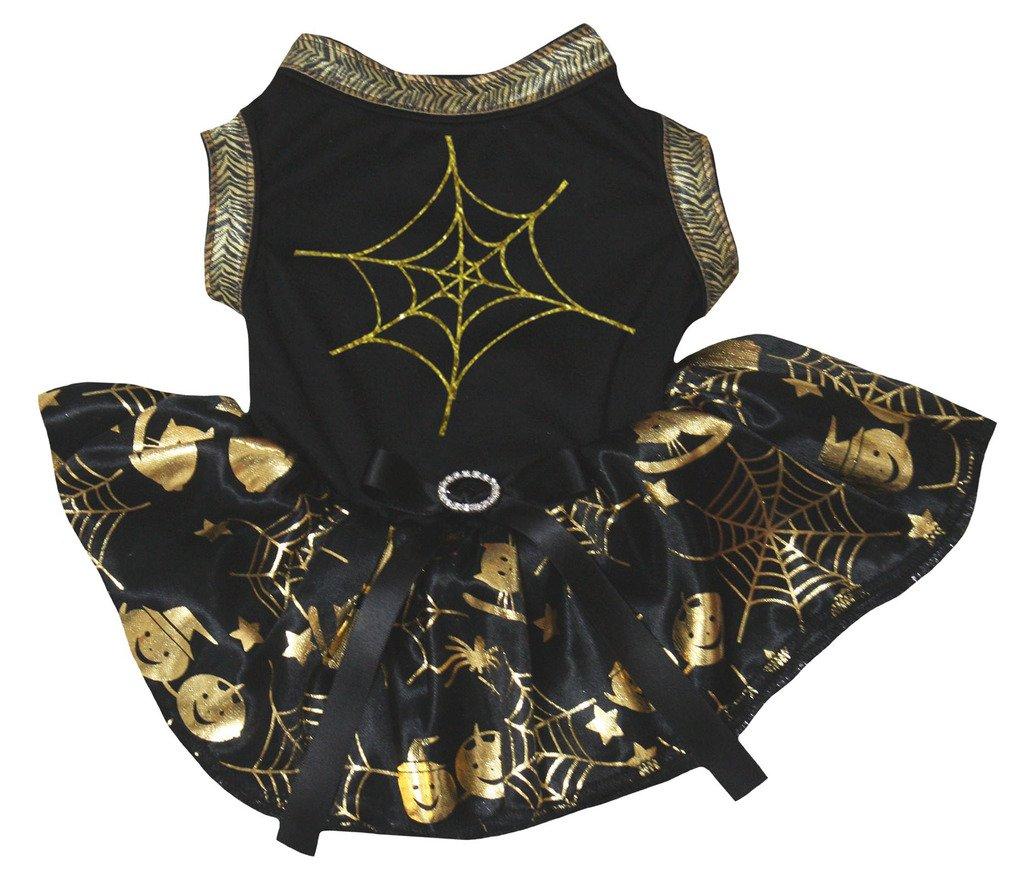 Petitebelle Chiot Vêtements pour chien Robe Toile d'araignée Noir Top Or Cobweb Tutu