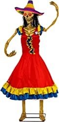 Halloween Haunters Life-Size Animated Spanish Moving Dancing Lady Day The Dead DOD Skeleton Girl Prop Decoration - Rubber Latex Face, Light Up Eyes - Animatronic Motion - Haunted House Graveyard