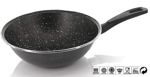Sartén Wok con revestimiento antiadherente, Wok de inducción, cocina de pasta, 20/28/35 cm de diámetro, Made in Spain, 28 cm