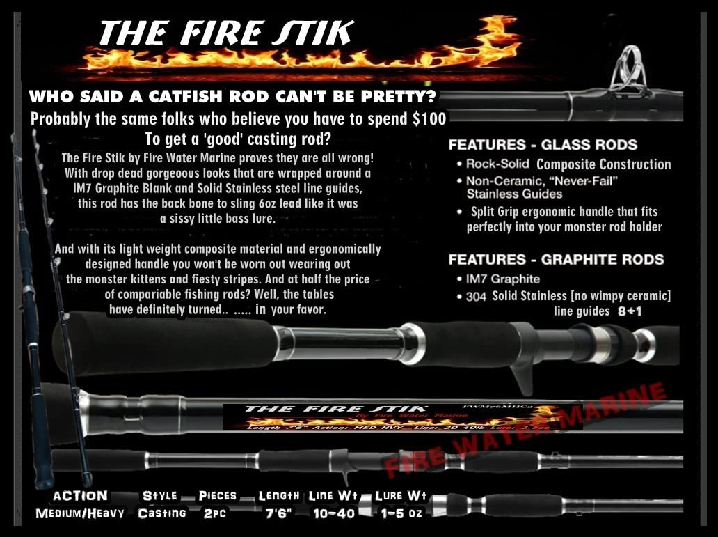 Nothing Ugly About IT FIRE STIK The 76 Catfish Rod Casting Fishing Striper
