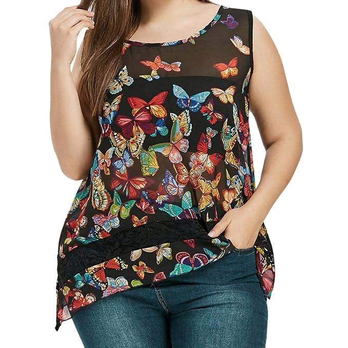ASHOP Camisetas Muje, Camisetas Sin Mangas Tallas Grandes EN Oferta Suelto Tops Blusas de Mujer Elegantes de Fiesta Baratas Impresión de Mariposas T-Shirt ...